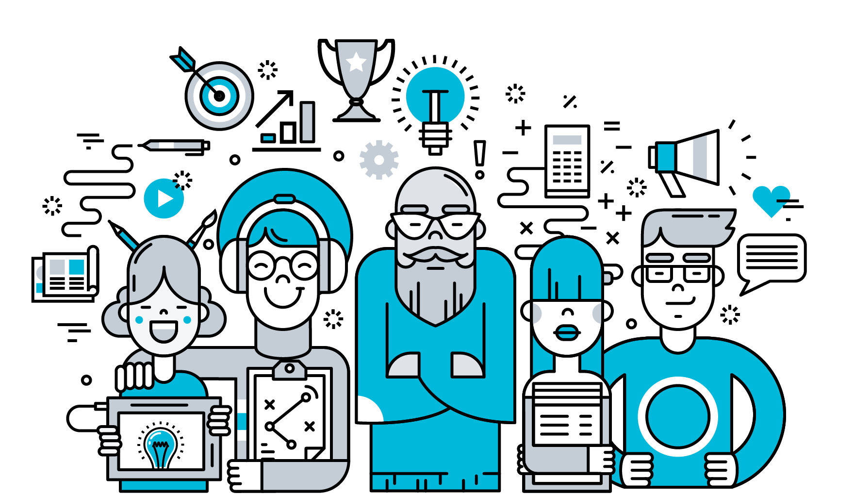 Illustration of five team members who have a variety of helpful tools available to use