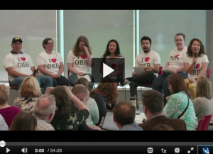 Screenshot of video from 2018 Lansing Community College student panel discussing open educational resousrces