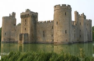 Photograph of a castle surrounded by water