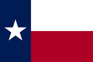 Red, white and blue flag of Texas, showing the Lone Star, a large white star on a blue field