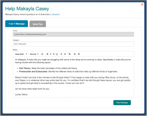 An automated email message template a faculty member can send to a student inviting them to get extra help on topics they are struggling with.