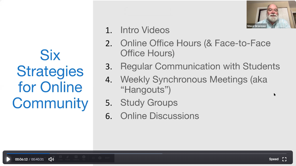 Screen shot from a webinar, listing six strategies for online community: 1) intro videos; 2) online office hours & face-to-face office hours; 3) regular communication with students, 4) weekly synchronous meetings (aka hangouts), 5) study groups, 6) online discussions