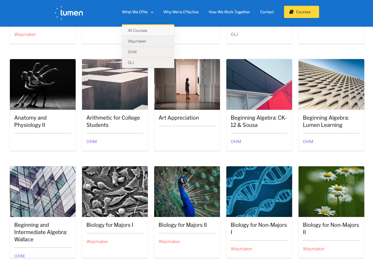 Lumen Learning's public course catalog
