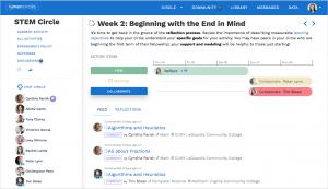 Lumen Circles professional development platform, hosting a virtual learning circle